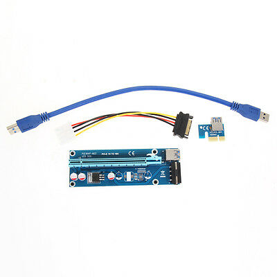USB 3.0 PCI-E Express 1x To 16x Extender Riser Card Adapter SATA Power Cable UK