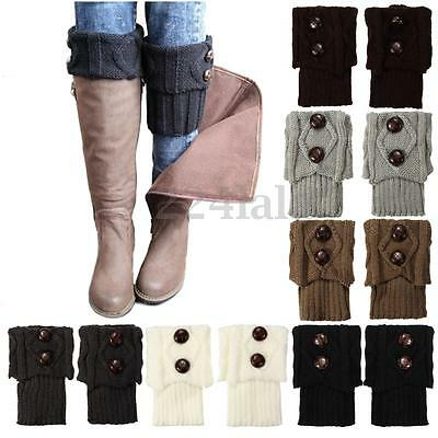 Women Winter Leg Warmer Socks Button Crochet Knit Boot Socks Toppers Cuffs Hot