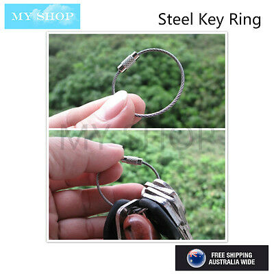 4 X Stainless Steel Wire Keychain Cable Screw Clasp Key Ring 1.5mm(D)*150mm (L)