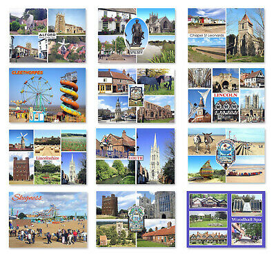 Lincolnshire Postcards in Packs of 4, Boston, Cleethorpes, Louth, Choose