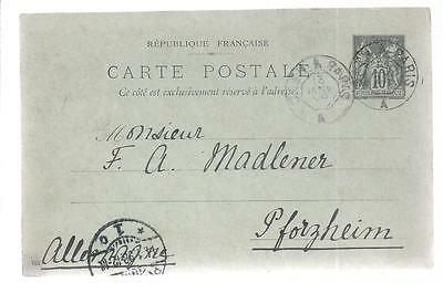 1898 GA France 10 centimes Paris-Pforzheim