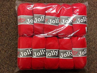 JOB LOT Mega Pack of 10 Jolly Knitting Acrylic YARN Balls, 50g, RED