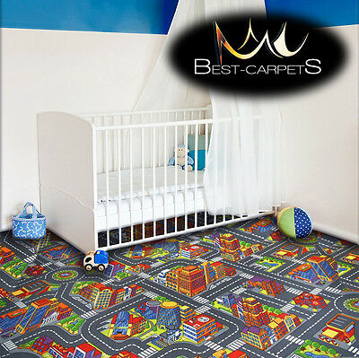 CHILDREN'S CARPET BIG CITY grey Street Town Kids Play Area Bedroom Rug ANY SIZE