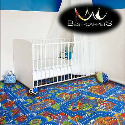 CHILDREN'S CARPET BIG CITY blue Street Town Kids Play Area Bedroom Rug ANY SIZE