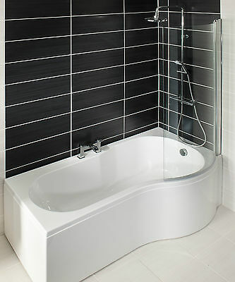 P Shape Shower Bath, Bath Panel & Screen 1700 mm