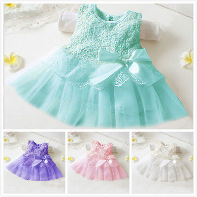 0-36M Kids Infant Baby Girls Toddler Party Princess Lace Tutu Bow Flower Dress