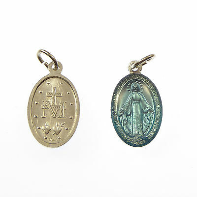 Catholic Miraculous Virgin Mary blue and silver rosary beads medal pendant 2cm
