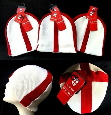 Mens Unisex Adult England Beanie Knitted Hat St George Cross Acrylic One Size