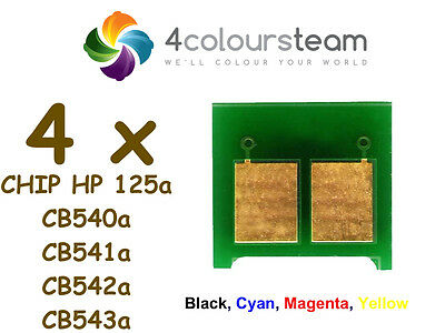 4x TONER RESET CHIPS (1set) FOR HP 125a CP1215 CP1515N CP1518NI CM1312mfp CB540a