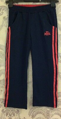 Girls Lonsdale Navy And Pink Track suit Jogging Trousers In Age 9-10