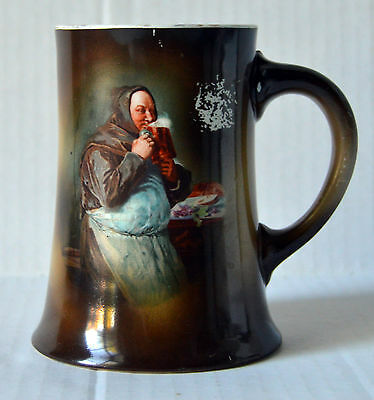 Antique Hand Painted Porcelain Mug Signed W. M. Tatler Old Monk Drinking Beer