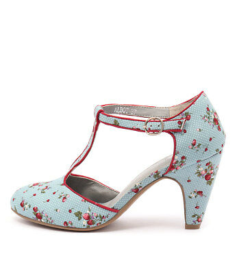 New I Love Billy Albot Blue Spot Print Red Womens Shoes Casual Shoes Heeled