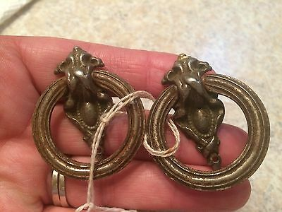 Two Antique Ornate Door Drawer Pulls Handles Hardware