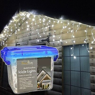 Christmas LED Outdoor Multi Function Icicle Lights - 180 LED - White
