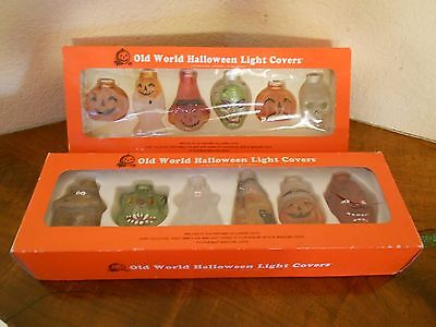 Vintage Halloween Light Covers Skull Devil Witch Cat Pumpkin Haunted House Ghost