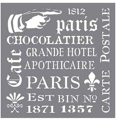 Stencil Sheet Reusable Plastic 8x8 FRENCH ELEMENTS Paris Cafe Andy Skinner