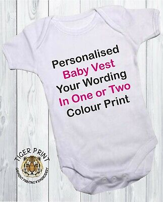 Personalised baby vest any message ages from 0-24 months babygrow bodysuit