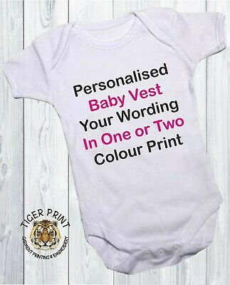 Personalised baby vest any message bodysuit Front print Back print or both