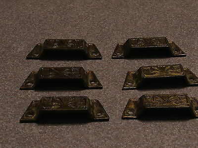 Six Victorian Cast Iron Dresser Drawer Pulls