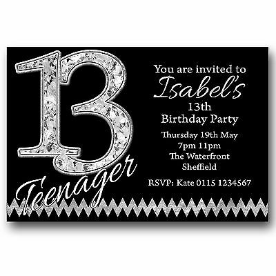 10 Personalised BOYS GIRLS Teenager 13th Birthday Party Invitations T215