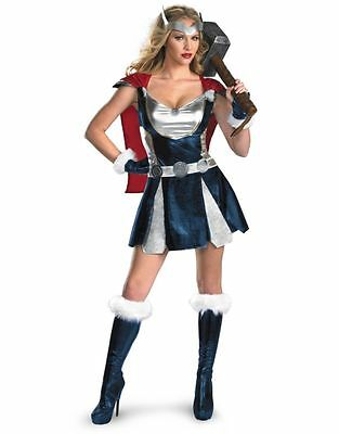 Womens Sexy THOR AVENGERS WARRIOR MARVEL Fancy Dress Costume Outfit