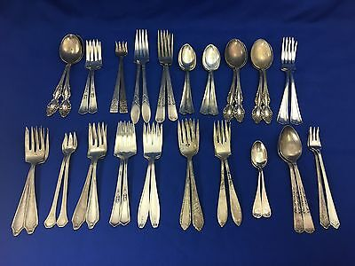 Vintage Silverplate Flatware Mixed Craft Lot 40 Silver Plated Pieces in Pairs