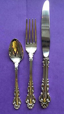 New Vintage Reed & Barton Spanish Baroque Sterling Silver 3 Piece Place Setting