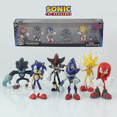 6Pcs Set Sonic The Hedgehog Classic Collector's 5.5-7cm PVC Figure In Box&No Box