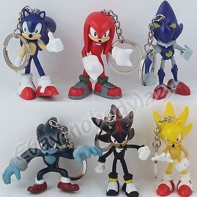New ! Set of 6Pcs Game Sonic The Hedgehog 5.5cm-7cm Pvc Pendant Key Ring Chain