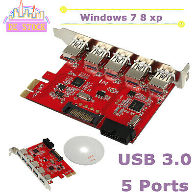 5 Port USB 3.0 PCI Express PCI-E Computer Card PC Karte Controller Hub Adapter