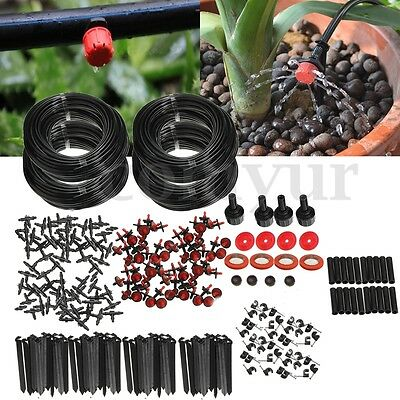 92m Micro Drip Irrigation Automatic Self Watering System Plant Garden Greenhouse