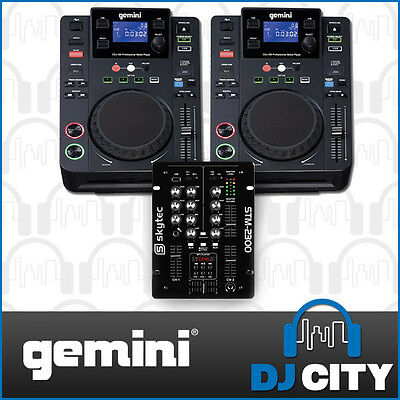 Gemini DJ Package with CDJ-300 DJ CD Media Players and Skytec 2 Channel DJ Mi...