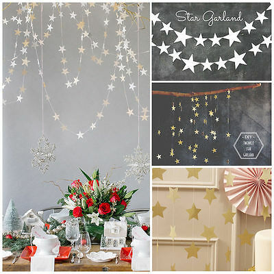 4M Star Paper Garlands Bunting Home Wedding Party Banner Hanging Xmas Decor