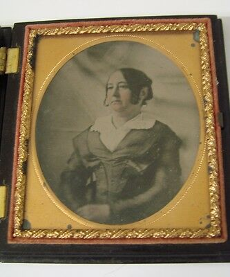 Antique Ambrotype Lady Thermoplastic Union Case 1/6 Plate Simple Mat