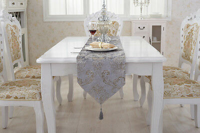 Luxury Flower Tasseled Chenille Table Runner Flocked Damask Wedding Party Decor