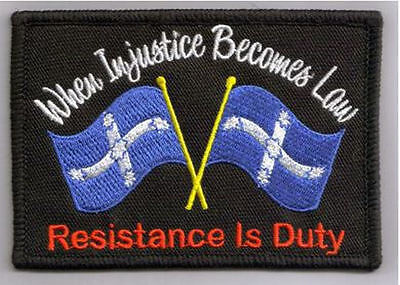Embroidered Iron Or Sew On Cloth Biker Patch ~ Eureka When Injustice Becomes Law