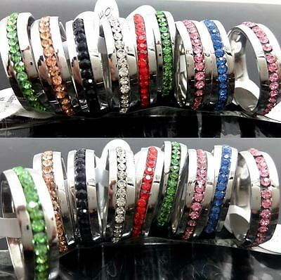 30x Comfort-fit Color Mix Rhinestone Stainless Steel CZ Wedding Rings Charm Ring