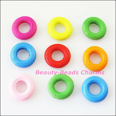 30 New Charms Mixed Wood Wooden Round Circle Spacer Beads DIY 15mm