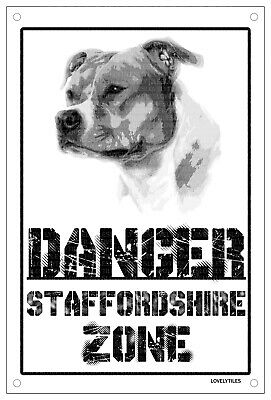 Danger STAFFORDSHIRE zone AMSTAFF Targa cartello metallo attenti al cane dog