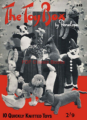 The Toy Box: Patterns for Knitting 9 Stuffed Toy Animals and a Clown Doll ~CD