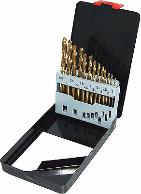 13 Piece Tin Coated HSS Drill Bit Set 1.5 - 6.5 mm With Storage Case