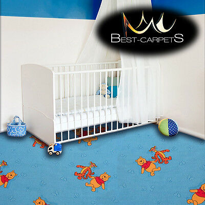 CHILDREN'S CARPET WINNIE THE POOH blue Tiger Kids Play Area Bedroom Rug ANY SIZE