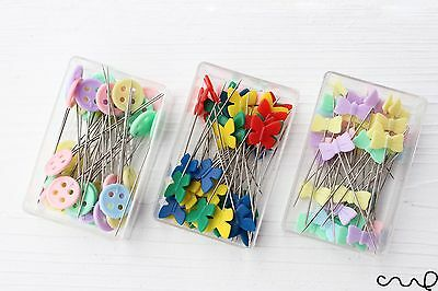Sewing Pins Bow Butterfly Button Mixed Colour Flat Head 40-45mm Craft Quilt VAT