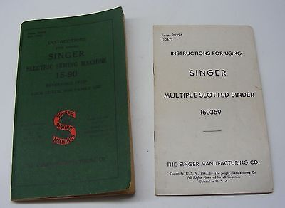 EXC  1938 vintage manual SINGER 15-90 PLUS SLOTTED BINDER # 160359 MANUAL