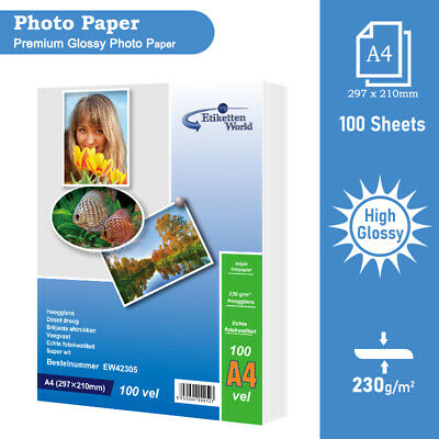 100 Sheets 230gsm A4 Gloss Photo Paper for Inkjet Printers Glossy EW