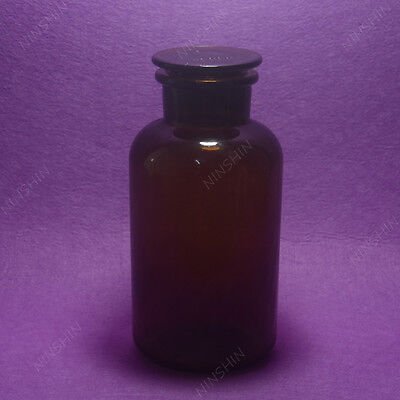 1000ML Amber Glass Reagent bottle,wide mouth,Ground stopper,Lab brown bottle