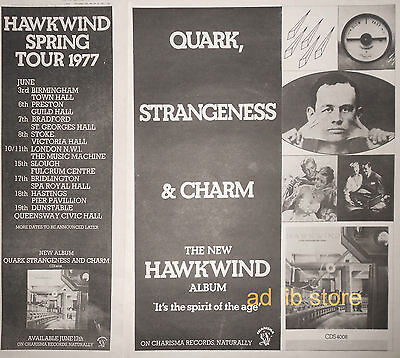 "HAWKWIND ALBUM, SPRING TOUR 1977, 2 UK 16"" x 12"" + 16"" x 5"" ADVERTS/ADS 1977"