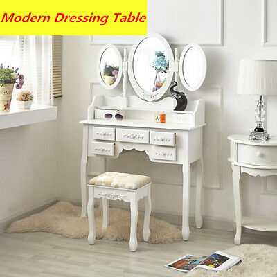 White Dressing Table,3 Oval Mirrors & Stool Set (7 Drawers) Bedroom Makeup Desk
