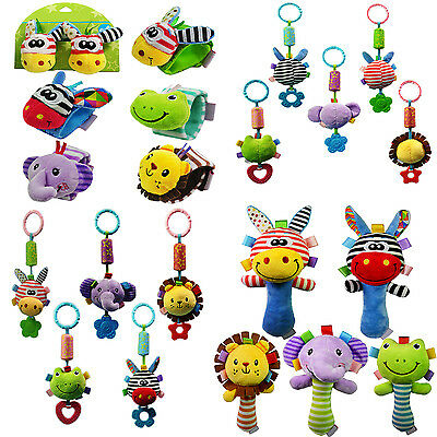 W Baby Infant Rattles Plush Animal Stroller Music Hanging Bell Toy Doll Soft Bed