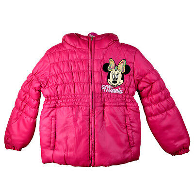 GIRLS DISNEY MINNIE MOUSE PINK PUFFA PADDED HOODED JACKET Ages 2,4,6,8